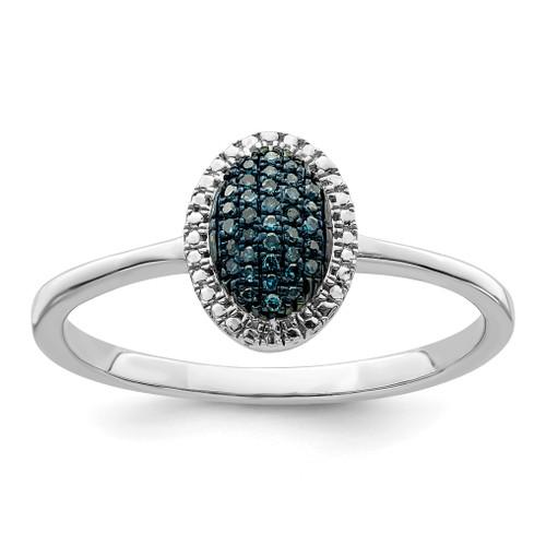 Lex & Lu Sterling Silver Blue and White Diamond Oval Ring - Lex & Lu