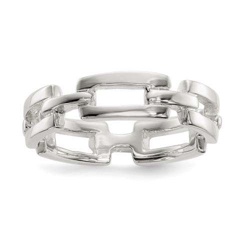 Lex & Lu Sterling Silver Polished Fancy Link Ring - Lex & Lu