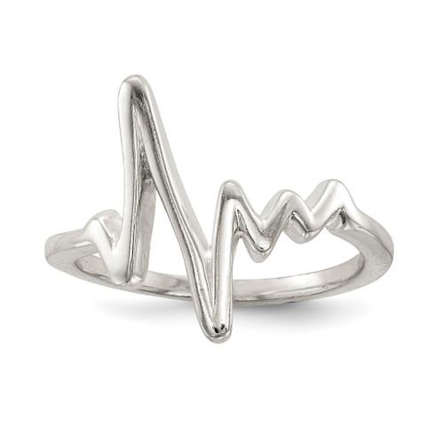 Lex & Lu Sterling Silver Polished Fancy Heartbeat Ring - Lex & Lu