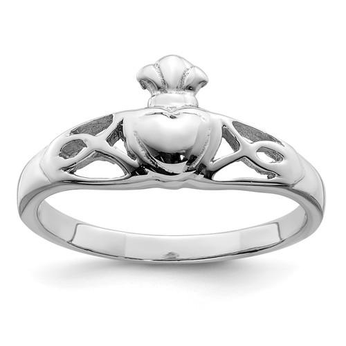 Lex & Lu Sterling Silver w/Rhodium Polished Claddagh Ring LAL125349 - Lex & Lu