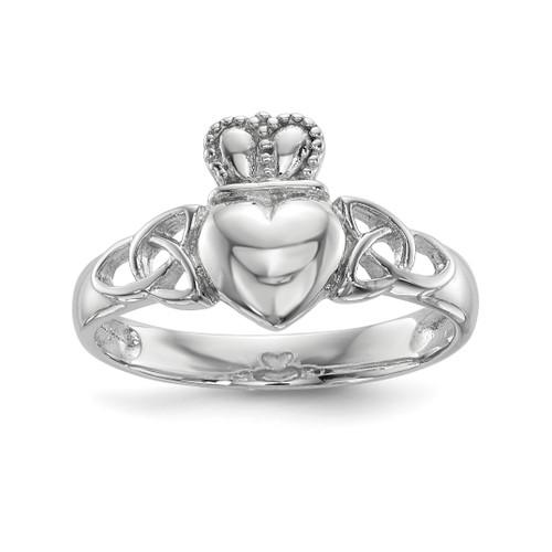 Lex & Lu Sterling Silver w/Rhodium Polished Claddagh Ring LAL125350 - Lex & Lu