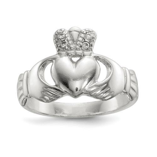 Lex & Lu Sterling Silver Polished CZ Claddagh Ring - Lex & Lu