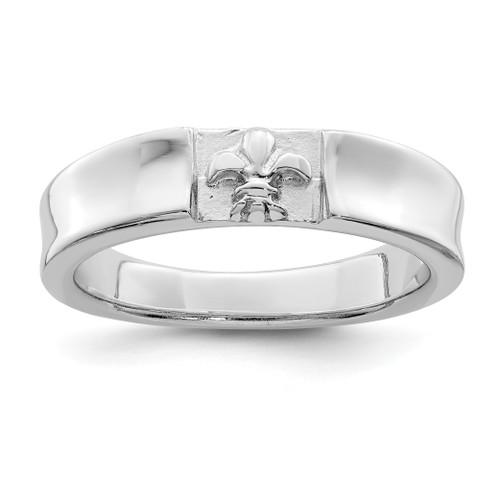 Lex & Lu Sterling Silver w/Rhodium Polished Fleur Dis Lis Band Ring - Lex & Lu