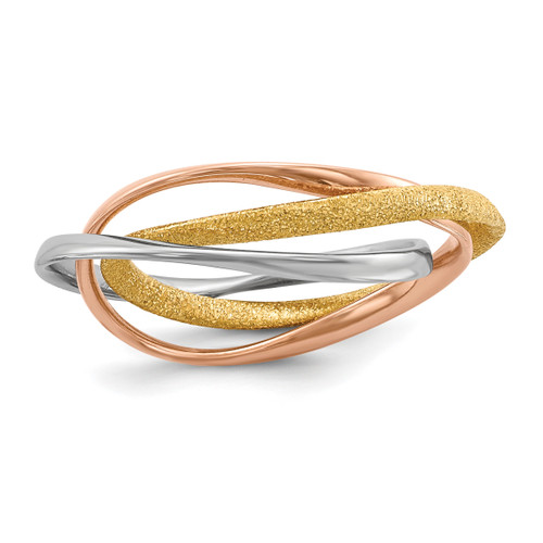 Lex & Lu Sterling Silver w/Rhodium Gold & Rose Gold-plated Intertwined Ring - Lex & Lu
