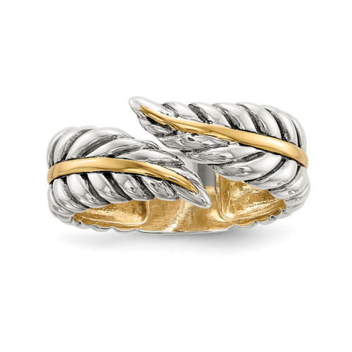Lex & Lu Sterling Silver w/14k Gold Antiqued Leaves Bypass Ring - Lex & Lu