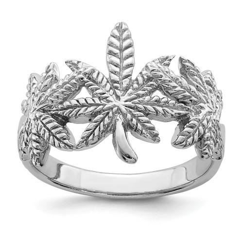 Lex & Lu Sterling Silver w/Rhodium Polished Leaf Ring - Lex & Lu