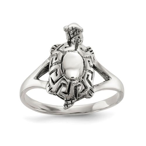 Lex & Lu Sterling Silver Polished Antiqued Turtle Ring LAL125437 - Lex & Lu