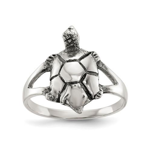 Lex & Lu Sterling Silver Polished Antiqued Turtle Ring LAL125439 - Lex & Lu