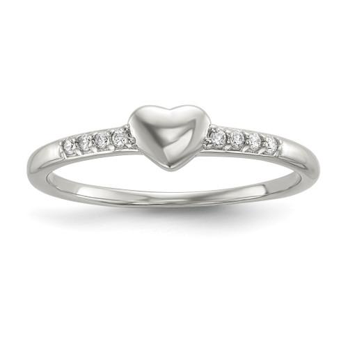 Lex & Lu Sterling Silver CZ Heart Ring LAL125473 - Lex & Lu