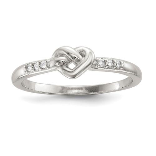 Lex & Lu Sterling Silver CZ Heart Ring LAL125474 - Lex & Lu