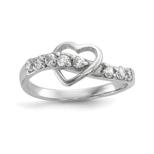 Lex & Lu Sterling Silver w/Rhodium Polished w/CZ Heart Ring - Lex & Lu