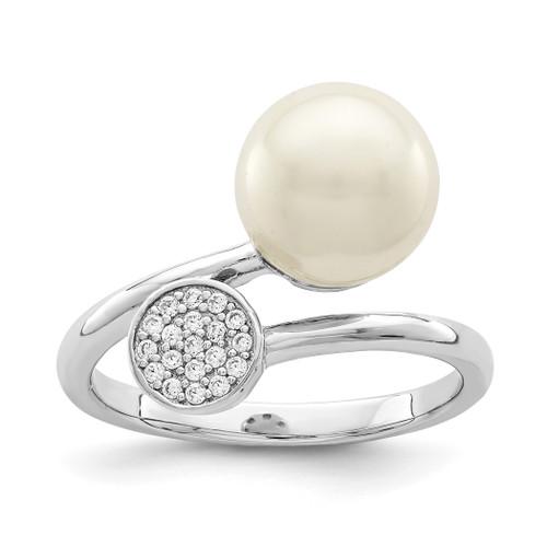 Lex & Lu Sterling Silver w/Rhodium Polished w/CZ and Acrylic Pearl Ring - Lex & Lu