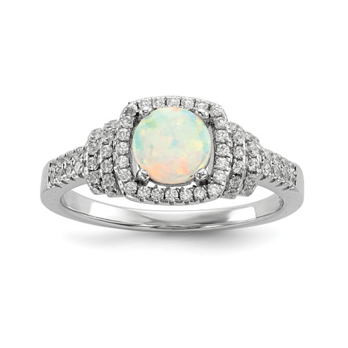 Lex & Lu Sterling Silver w/Rhodium CZ and Synthetic White Opal Ring - Lex & Lu
