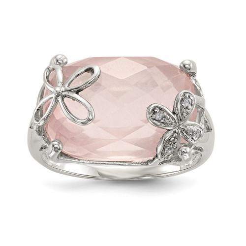 Lex & Lu Sterling Silver w/Rose Quartz & White Sapphire Ring - Lex & Lu
