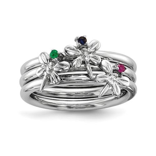 Lex & Lu Sterling Silver w/Rhodium Set of 3 Sapphire, Ruby, Emerald Rings - Lex & Lu