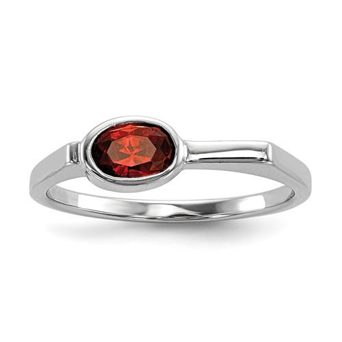 Lex & Lu Sterling Silver w/Rhodium Red CZ Ring - Lex & Lu