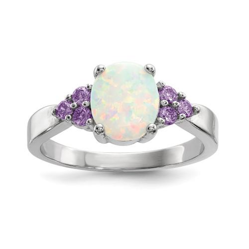 Lex & Lu Sterling Silver w/Rhodium Oval Created Opal w/Purple CZ Ring - Lex & Lu