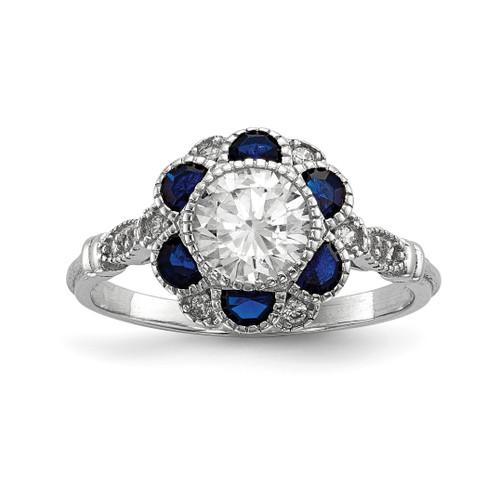Lex & Lu Sterling Silver w/Rhodium CZ & Synthetic Blue Sapphire Flower Ring - Lex & Lu