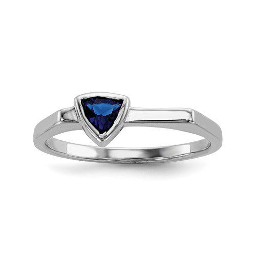 Lex & Lu Sterling Silver w/Rhodium Triangle Blue Glass Stone Ring - Lex & Lu