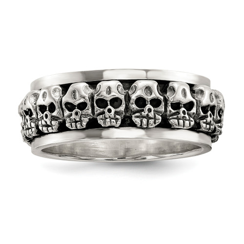 Lex & Lu Sterling Silver Polished Spinning Center Antiqued Skull Ring LAL125506 - Lex & Lu