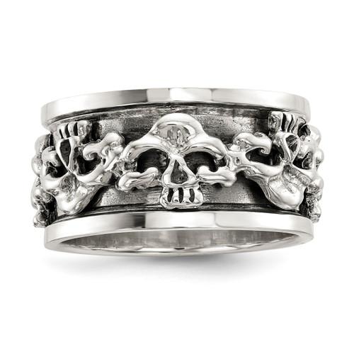 Lex & Lu Sterling Silver Polished Spinning Center Antiqued Skull Ring LAL125507 - Lex & Lu
