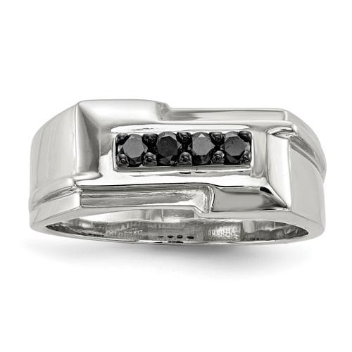 Lex & Lu Sterling Silver Men's Black Diamond Polished Ring - Lex & Lu