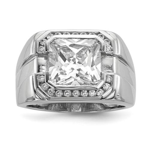 Lex & Lu Sterling Silver w/Rhodium Men's CZ Ring LAL125510 - Lex & Lu
