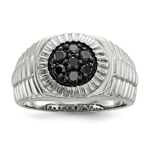 Lex & Lu Sterling Silver Men's Black Diamond Polished and Satin Ring LAL125511 - Lex & Lu
