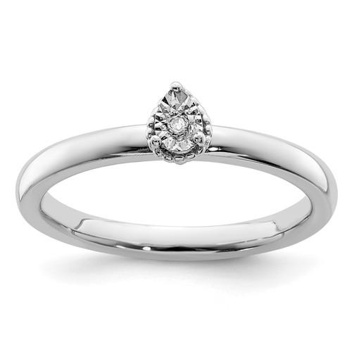 Lex & Lu Sterling Silver Polished .01ct. Diamond Teardrop Shape Ring - Lex & Lu