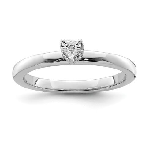 Lex & Lu Sterling Silver Polished .01ct. Diamond Heart Shape Ring - Lex & Lu
