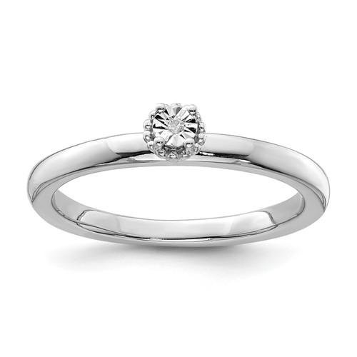 Lex & Lu Sterling Silver Polished .01ct. Diamond Ring - Lex & Lu