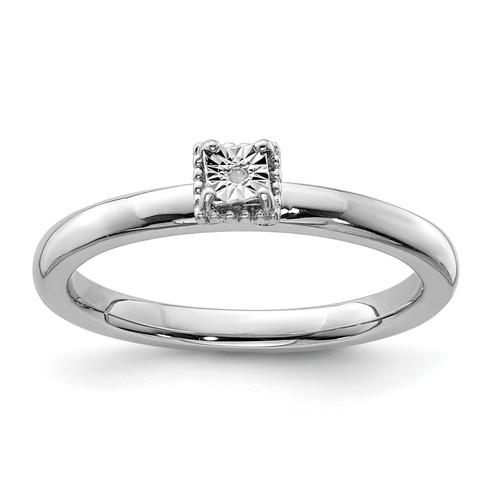 Lex & Lu Sterling Silver Polished .01ct. Diamond Square Shape Ring - Lex & Lu