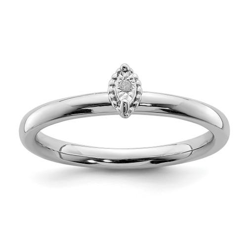 Lex & Lu Sterling Silver Polished .01ct. Diamond Marquise Shape Ring - Lex & Lu