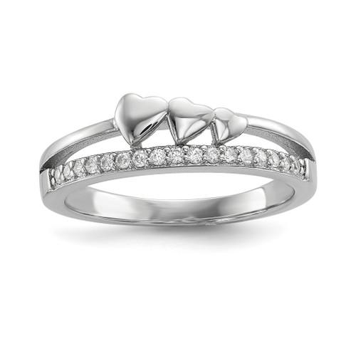 Lex & Lu Sterling Silver w/Rhodium CZ & Hearts Polished Ring - Lex & Lu
