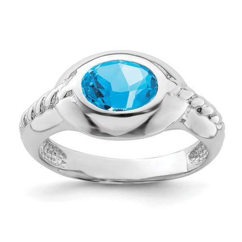 Lex & Lu Sterling Silver w/Rhodium Blue Topaz Ring - Lex & Lu