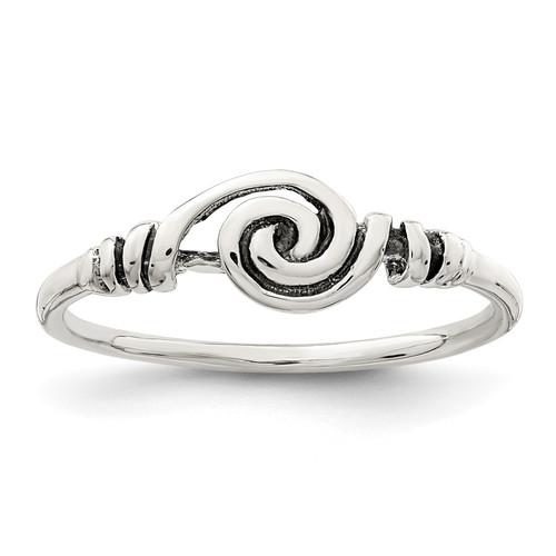 Lex & Lu Sterling Silver Antiqued Swirl Ring - Lex & Lu