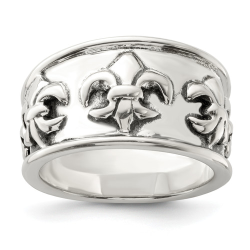 Lex & Lu Sterling Silver Antiqued Fleur De Lis Ring - Lex & Lu