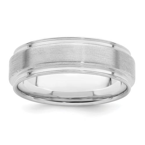 Lex & Lu Sterling Silver 6mm Brushed Fancy Band Ring LAL125562 - Lex & Lu