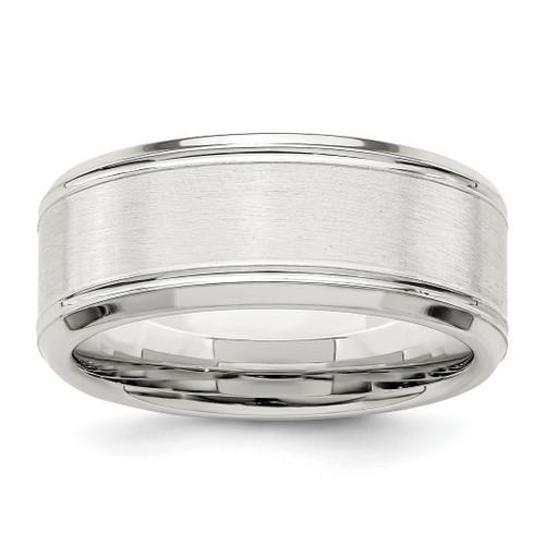 Lex & Lu Sterling Silver 8mm Brushed Fancy Band Ring LAL125565 - Lex & Lu