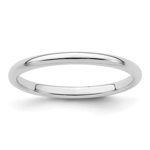 Lex & Lu Sterling Silver 2mm Half-Round Band Ring - Lex & Lu
