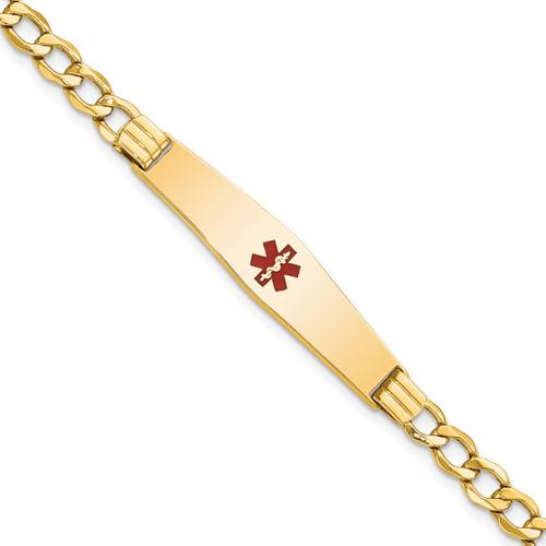 Lex & Lu 14k Yellow Gold Medical Soft D/S ID w/Semi-Solid Cuban Bracelet LAL125739 - Lex & Lu