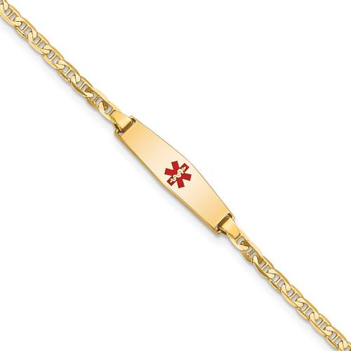 Lex & Lu 14k Yellow Gold Medical Soft D/S Flat Anchor Link ID Bracelet - Lex & Lu