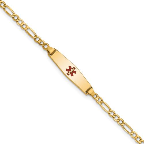 Lex & Lu 14k Yellow Gold Medical Soft D/S ID w/Semi-Solid Figaro Bracelet LAL125818 - Lex & Lu