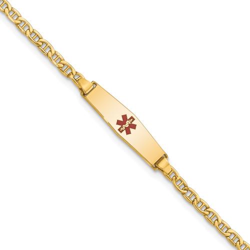 Lex & Lu 14k Yellow Gold Medical Soft D/S ID w/Semi-Solid Anchor Bracelet - Lex & Lu