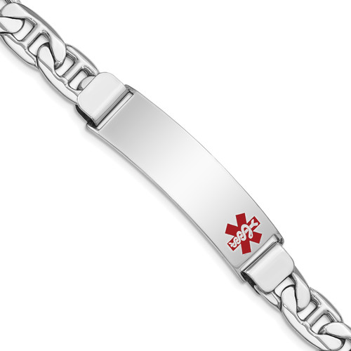 Lex & Lu Sterling Silver Medical ID Anchor Link Bracelet LAL125877 - Lex & Lu