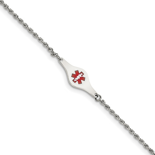 Lex & Lu Sterling Silver Medical ID Rope Link Bracelet LAL125883 - Lex & Lu