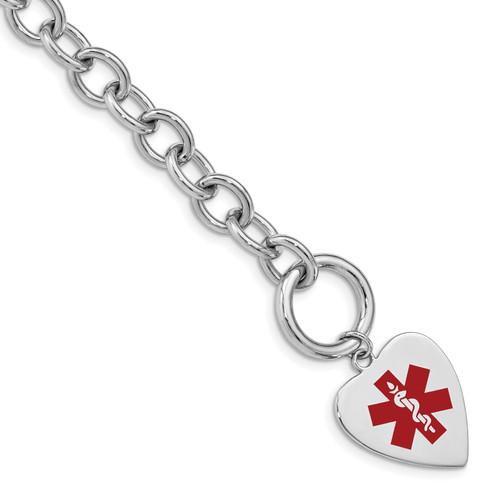 Lex & Lu Sterling Silver Engravable Enameled Heart Medical ID Bracelet LAL125895 - Lex & Lu