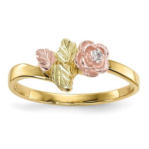 Lex & Lu 10k Tri-Color Black Hills Gold Diamond Rose Ring Size 7 - Lex & Lu