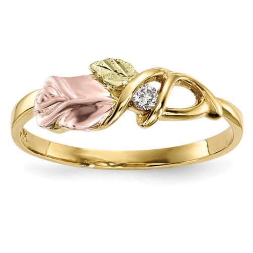 Lex & Lu 10k Tri-Color Black Hills Gold Diamond Ring Size 7 LAL125899 - Lex & Lu
