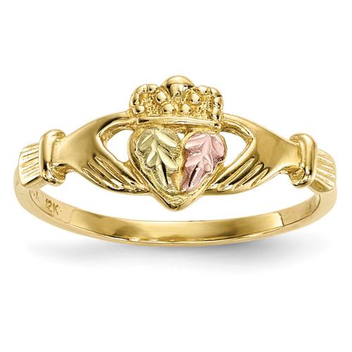 Lex & Lu 10k Tri-Color Black Hills Gold Claddagh Ring Size 7 - Lex & Lu